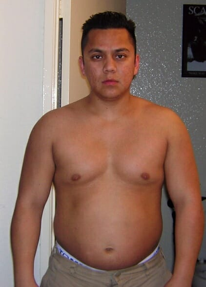 Tony Arreola's before picture without a flat tummy